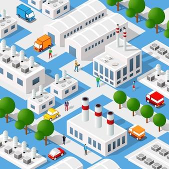 Elementos de projeto urbano isométrico industrial de fábrica de cidade