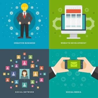 Elementos de promoção do site. homem de negócios criativos, desenvolvimento, marketing de mídia social. conjunto de ilustrações vetoriais.