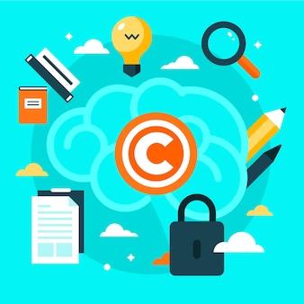 Elementos de propriedade intelectual e cadeado