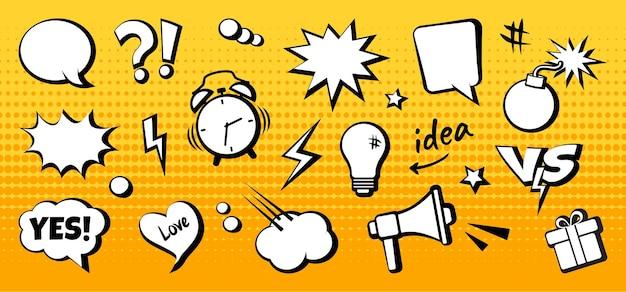 Elementos de quadrinhos e balões de fala em pontos de meio-tom amarelos