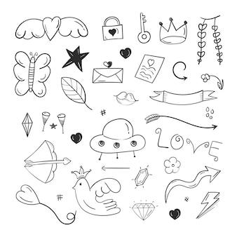 Elementos de rabisco abstrato desenhado à mão