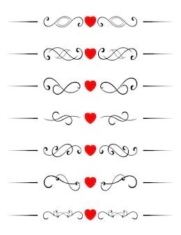 Elementos de redemoinho com corações