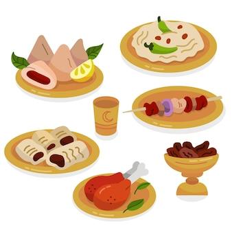 Elementos de refeição iftar desenhados à mão