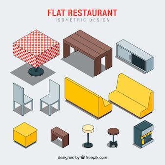 Elementos de restaurante plano e isométrico