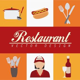 Elementos de restaurante sobre branco e amarelo