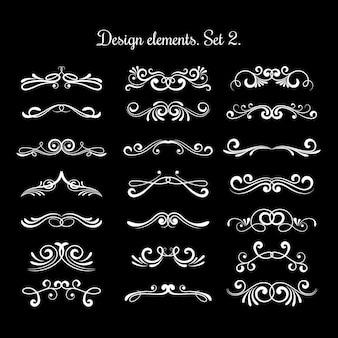 Elementos de rolagem decorativos caligráficos