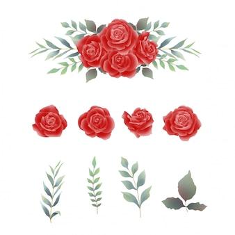 Elementos de rosas vermelhas e folhas de estilo aquarela