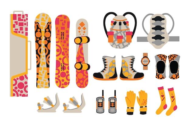 Elementos de roupas e ferramentas esportivas de snowboard