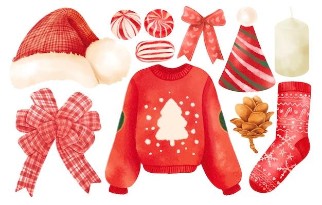 Elementos de roupas vermelhas de natal ilustrações e estilos de aquarela