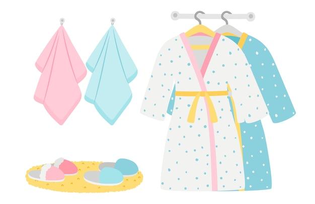 Elementos de roupões, chinelos e toalhas masculinos e femininos