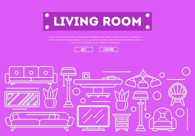 Elementos de sala de estar em estilo linear