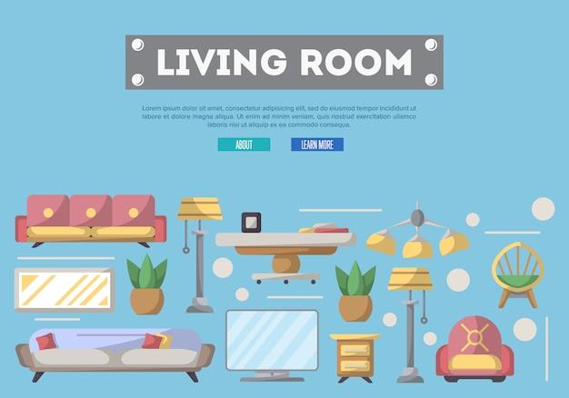 Elementos de sala de estar em estilo simples