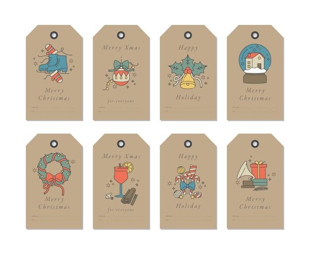 Elementos de saudação de natal de design linear em fundo de papel artesanal