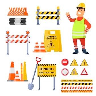 Elementos de segurança urbana em fundo branco