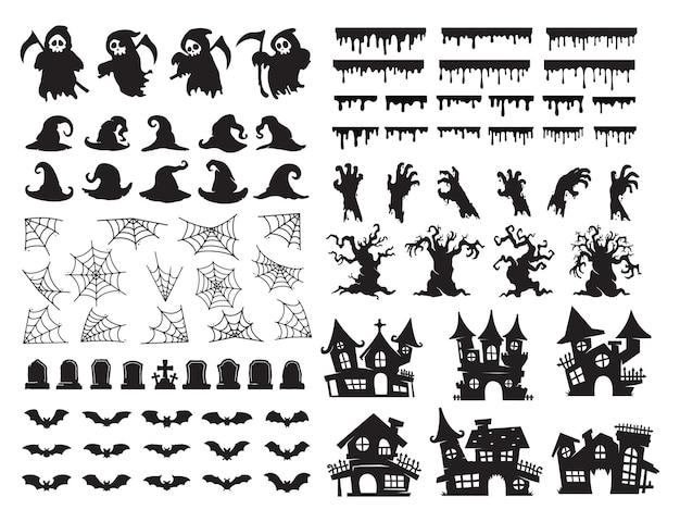 Elementos de silhueta de halloween. vetor de espírito fantasma assustador para decoração de cartão de halloween