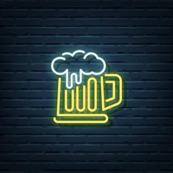 Elementos de sinal de cerveja neon