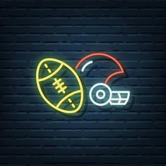 Elementos de sinal de néon de futebol americano