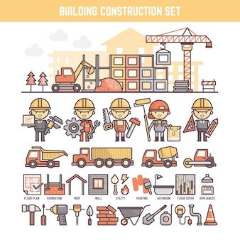 Elementos de site de construção e construção para infográficos