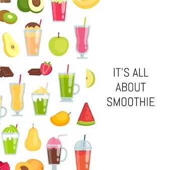 Elementos de smoothie plana