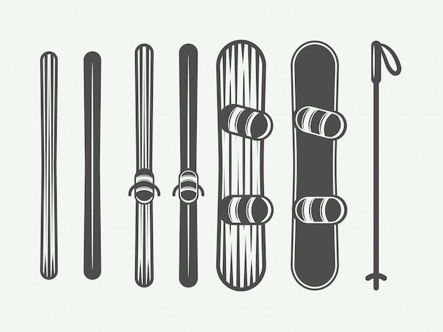 Elementos de snowboard.