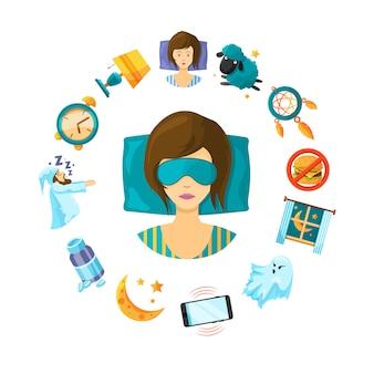Elementos de sono dos desenhos animados em torno de pessoa de mulher dormindo
