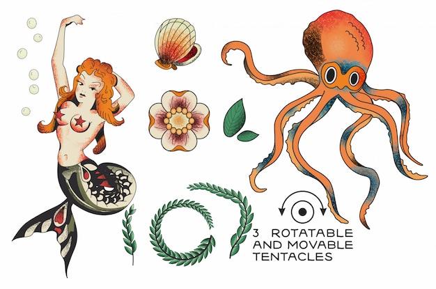 Elementos de tatuagem de marinheiro jerry