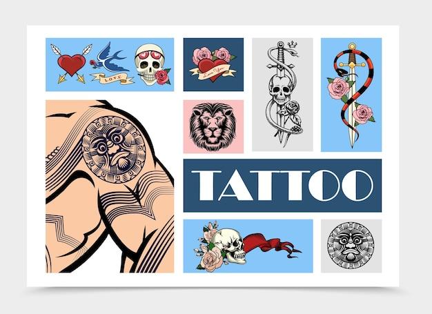 Elementos de tatuagem desenhados à mão com crânios de corpo de homem tatuado e coração perfurado com setas engolir cabeça de leão cobra em torno de espada rosa flores ilustração