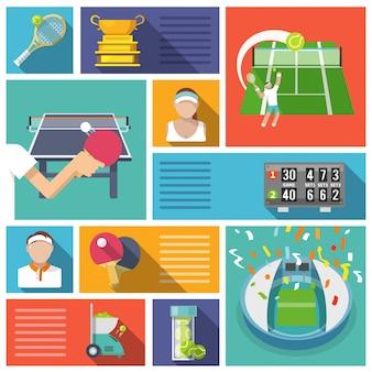 Elementos de ténis de design