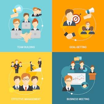 Elementos de trabalho em equipe planas