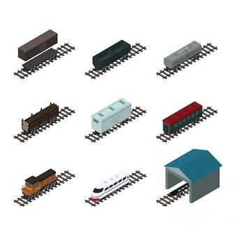 Elementos de trem isométricos