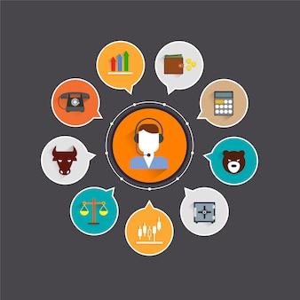 Elementos de troca de finanças conjunto com equilíbrio de negócios de escritório e ilustração em vetor comerciante avatar