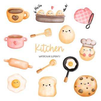 Elementos de utensílios de cozinha de cozinha em aquarela de pintura digital