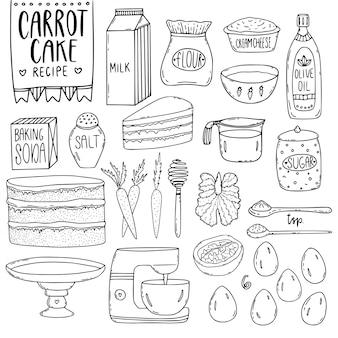 Elementos de utensílios de cozinha.