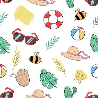 Elementos de verão bonito no padrão sem emenda com estilo doodle