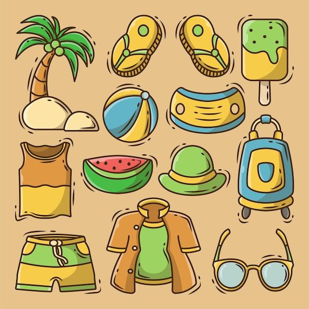 Elementos de verão de doodle desenhado à mão