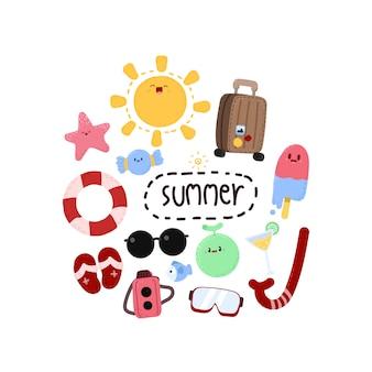 Elementos de verão dos desenhos animados