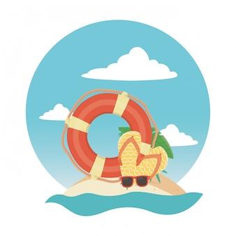 Elementos de verão na praia