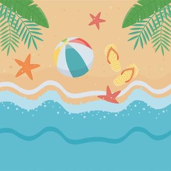 Elementos de verão no fundo da praia