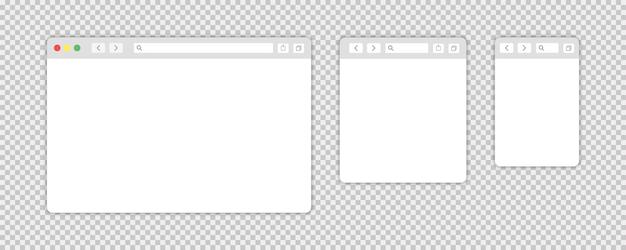 Elementos de vetor da web isolados da janela do navegador