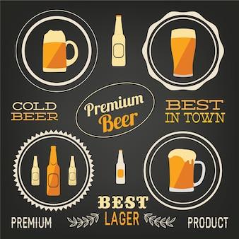 Elementos de vetor de cerveja, conjunto de digitalizações