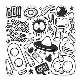 Elementos de vetor de doodle desenhado à mão