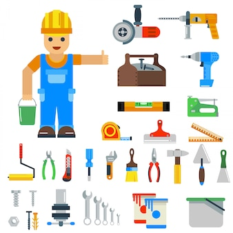 Elementos de vetor de ferramentas de reparo em casa