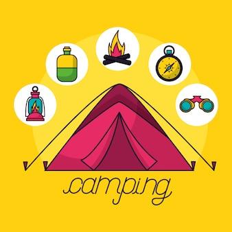 Elementos de viagem de acampamento em estilo simples
