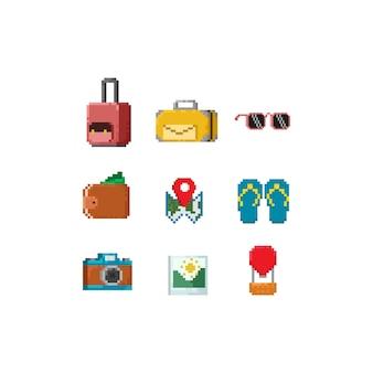 Elementos de viagem de pixel