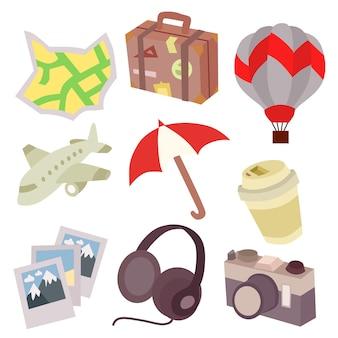 Elementos de viagem estilo plano conjunto ilustração vetorial de elemento