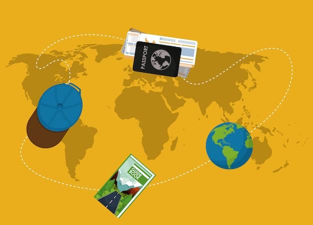 Elementos de viagem no mapa do mundo