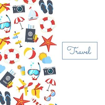 Elementos de viagens com ilustração copyspace