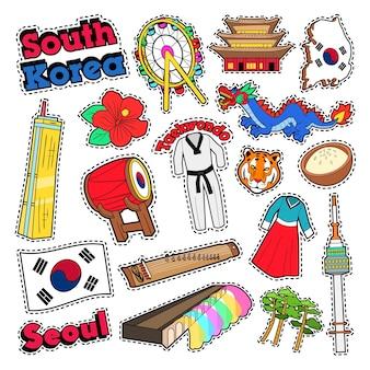 Elementos de viagens da coreia do sul com arquitetura e taekwondo. doodle vector