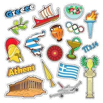 Elementos de viagens da grécia com arquitetura e o fogo olímpico. doodle vector