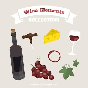 Elementos de vinho acompanhado de queijo